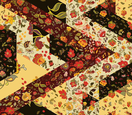 batik: Patchwork pattern with flowers. Abstract creative seamless background. Vintage boho style