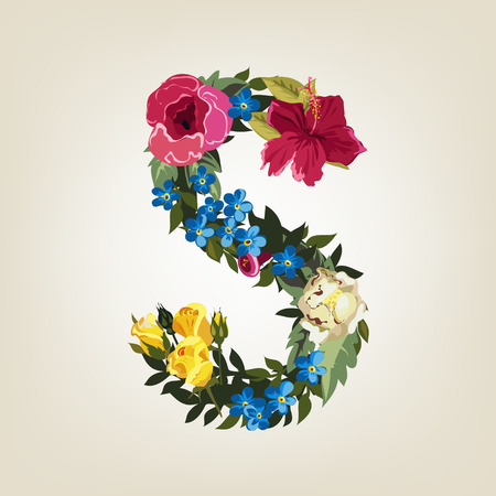 flower alphabet: S letter in Flower capital alphabet Illustration