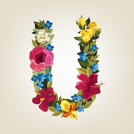 letter u: U letter. Flower capital alphabet. Colorful font. Uppercase.  Vector illustration.