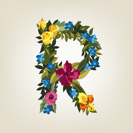 flower alphabet: R letter in Flower capital alphabet Illustration