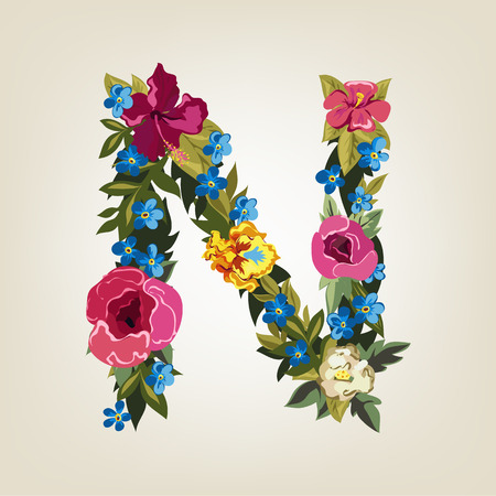 N letter. Flower capital alphabet. Colorful font. Uppercase.  Vector illustration.