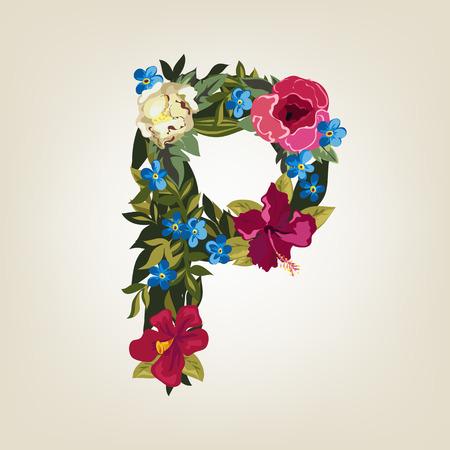 carta de amor: P letra en el alfabeto de capital Flor