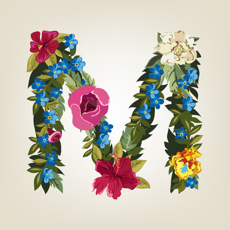 flower alphabet: M letter in Flower capital alphabet Illustration