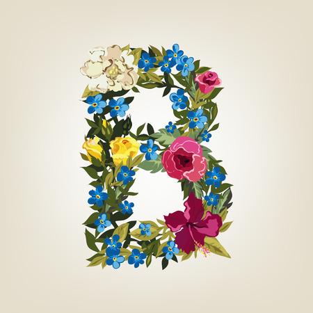 B letter in Flower capital alphabet