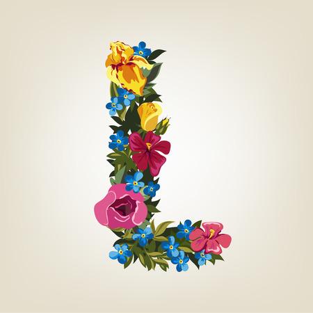 chapiteaux: L lettre Flower alphabet de capital