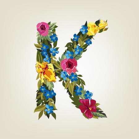 uppercase: K letter. Flower capital alphabet. Colorful font. Uppercase.  Vector illustration.
