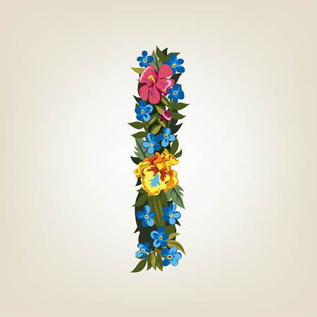 uppercase: I letter. Flower capital alphabet. Colorful font. Uppercase.  Vector illustration. Illustration