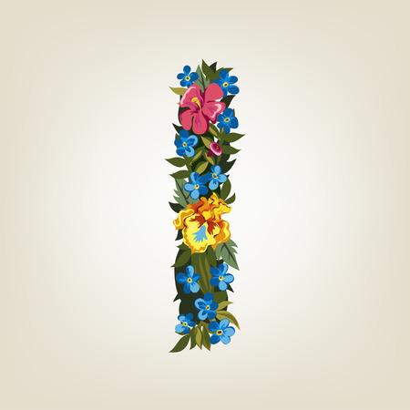 I letter. Flower capital alphabet. Colorful font. Uppercase.  Vector illustration. Illustration