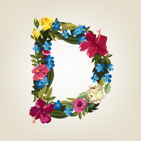 D letter in Flower capital alphabet Illustration