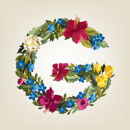 flower alphabet: G letter. Flower capital alphabet. Colorful font. Uppercase.  Vector illustration. Illustration