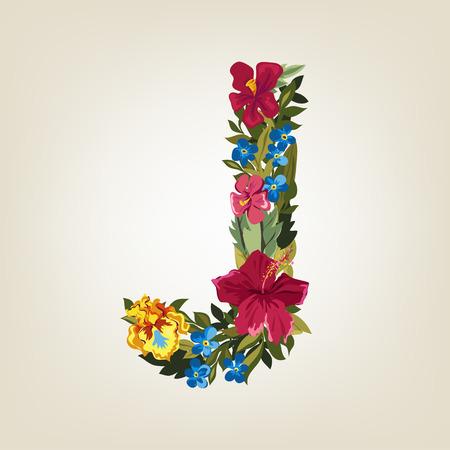 J letter in Flower capital alphabet Illusztráció