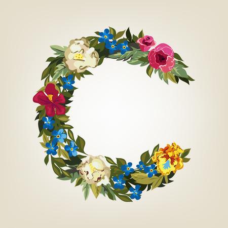 uppercase: C letter. Flower capital alphabet. Colorful font. Uppercase.  Vector illustration.