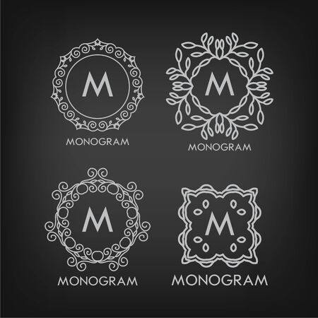 Set of luxury, simple and elegant monogram designs templates with copy-space for text on chalkboard background Vector