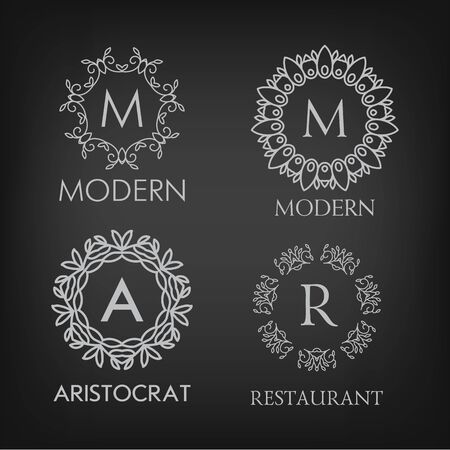 refine: Set of luxury, simple and elegant monogram designs templates with copy-space for text on chalkboard background