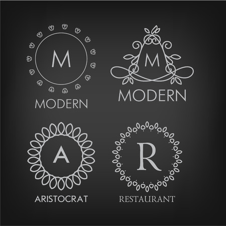 set of luxury simple and elegant monogram designs templates