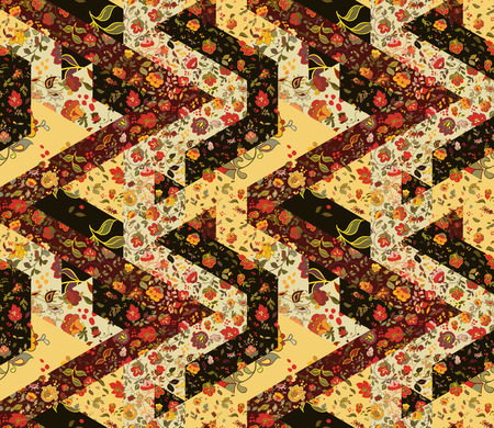 patchwork pattern: Creative seamless patchwork pattern with flowers. Vintage boho style