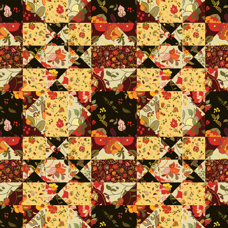 flor: Creative seamless patchwork pattern with flowers