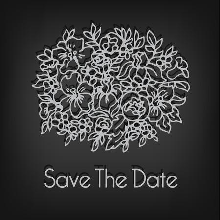 forgot: Simple linear flower bouquet. Wedding invitation template Illustration