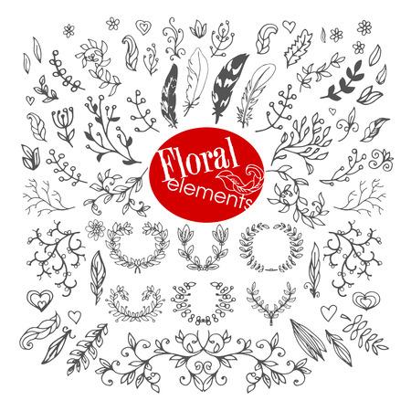 Set di Vintage Floral mano sketch Elements. Fiori, rami, cuori, piume, Corone di alloro e Frecce per l'estate e Retro Design. Stile disegnato a mano