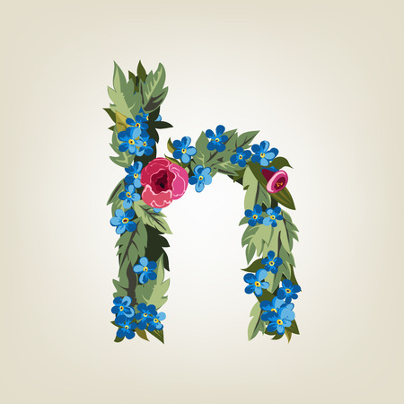 flower alphabet: H letter. Flower  alphabet. Colorful font. Lowercase.  Vector illustration.