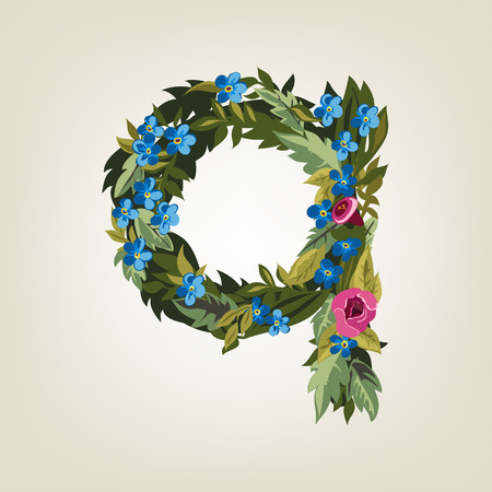 flower alphabet: Q letter. Flower  alphabet. Colorful font. Lowercase.  Vector illustration. Illustration