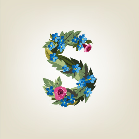 flower alphabet: S letter in Flower alphabet Illustration
