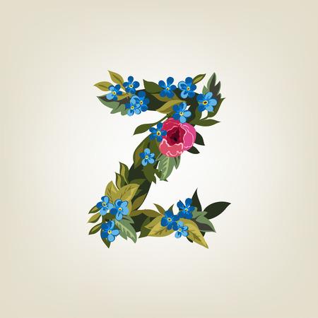 letter z: Z letter in Flower alphabet