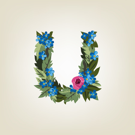 flower alphabet: U letter. Flower  alphabet. Colorful font. Lowercase.  Vector illustration. Illustration