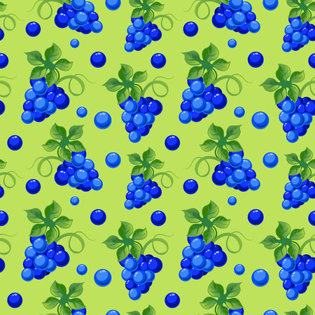 sappy: Vector seamless background with bright fresh juicy grapes. Illustration