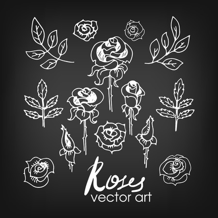 wreaths: Set of Vintage Floral Hand-Sketched Elements. Flowers, Floral Elements, Roses and Leaves for Summer and Retro Design. Hand Drawn Style