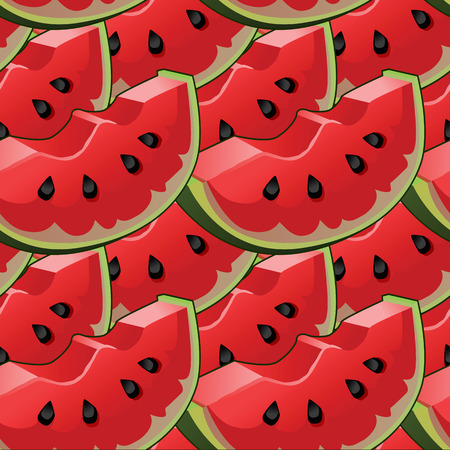 Seamless background with red fresh juicy watermelon slices Ilustração