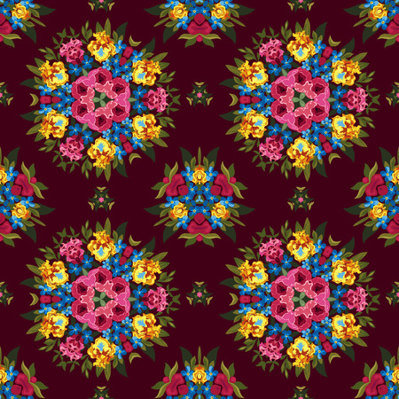 flor: Floral abstract boho or hippie seamless pattern background