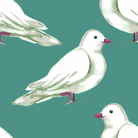 soulful: Watercolor Seamless pattern with white doves. Vector illustration.