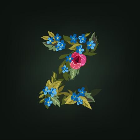 letter z: Z letter. Flower  alphabet. Colorful font. Lowercase.  Vector illustration.