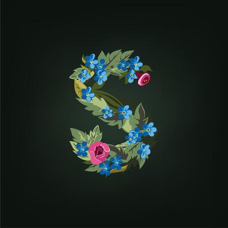 s alphabet: S letter. Flower  alphabet. Colorful font. Lowercase.  Vector illustration. Illustration