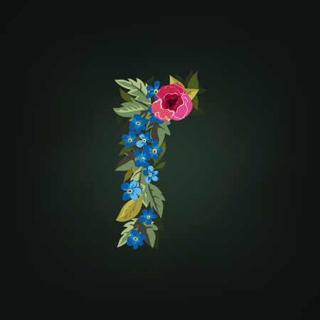 flower alphabet: R letter. Flower  alphabet. Colorful font. Lowercase.  Vector illustration.