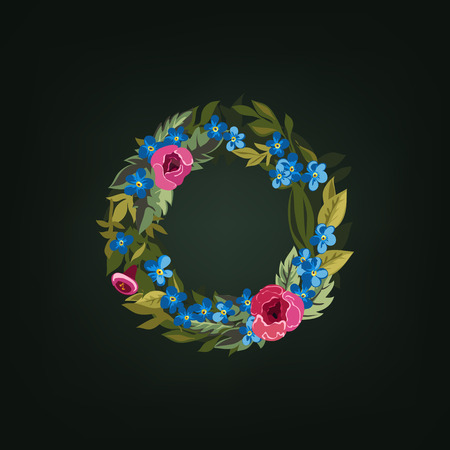 flower alphabet: O letter. Flower  alphabet. Colorful font. Lowercase.  Vector illustration. Illustration