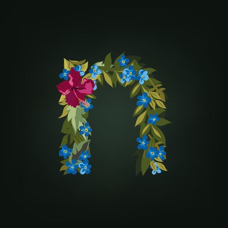 flower alphabet: N letter. Flower  alphabet. Colorful font. Lowercase.  Vector illustration.