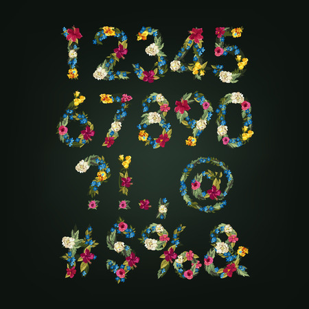 flower font: Numbers, Vector Colorful Flower Font For Your Design.