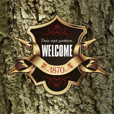 royal logo: Vintage Lable frame for Business Identity, Restaurant, Hotel, Luxury Logos or Boutique. Elegant Retro Royalty Heraldic Design with Floral Elements. Vector Illustration Template Wood Bark Texture. Illustration
