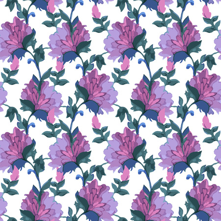 soulful: Floral Watercolor seamless pattern with exotic flowers and leaves