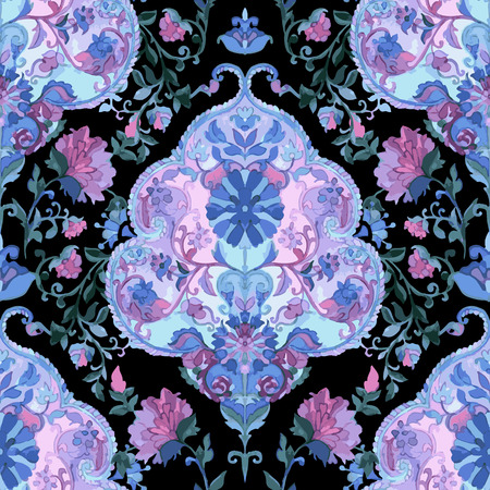 batik: Aquarelle paisley seamless. Art indien, persan ou turc. Vecteur de fond.