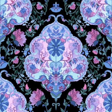 paisley seamless pattern: Watercolor paisley seamless pattern. Indian, persian or turkish art. Vector background. Illustration