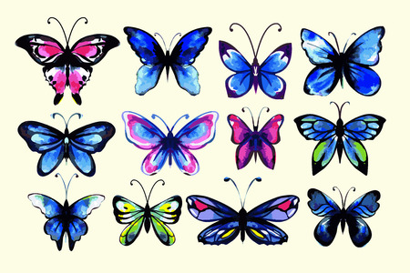 morpho: Watercolor butterflies set. Handdrawn. Isolated.  Cold colors.