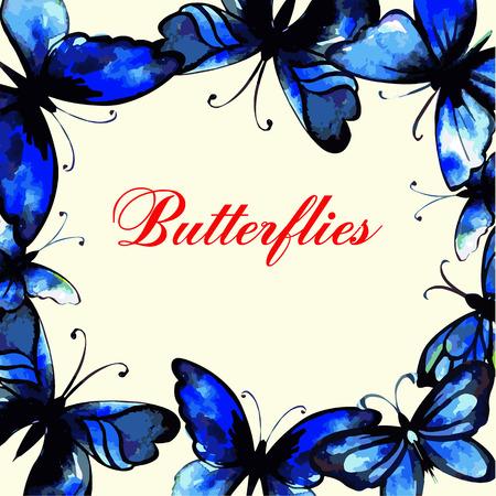 morpho: Flying butterfly card. Vector illustration. Watercolor design.