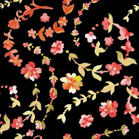 ethnics: Acquerello floreale seamless. Indiano, persiano o turco arte. Vettore sfondo. Colori caldi. Ethnics.