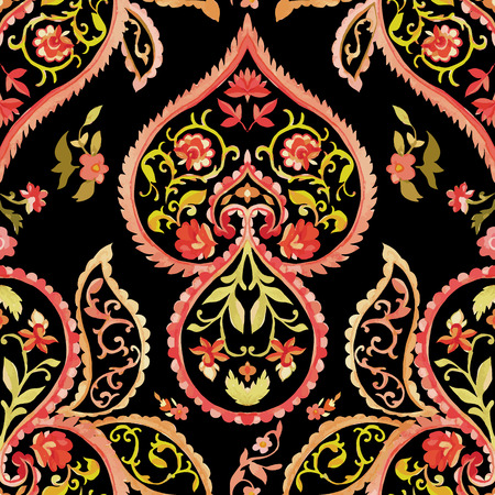 Watercolor paisley seamless pattern. Warm colors. Indian, persian or turkish art. Vector background.