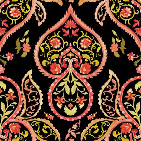 Aquarel paisley naadloos patroon. Warme kleuren. Indische, Perzische en Turkse kunst. Vector achtergrond.