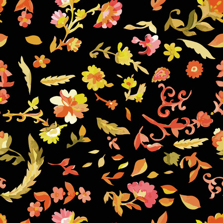 persian art: Watercolor floral seamless pattern. Indian, persian or turkish art. Vector background. Warm colors.