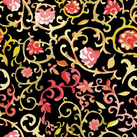 p�querette: Aquarelle floral pattern. Art indien, persan ou turc. Vecteur de fond. Les couleurs chaudes.